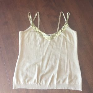 Banana Republic tan cami/gold sequins